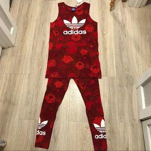 05b345d83bb adidas Tops | Bnwt Red Floral Tank Topdress | Poshmark